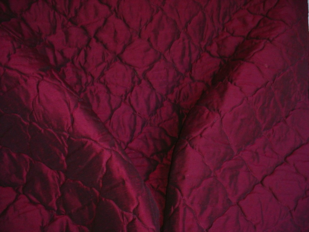 8y Incredible Quilted Crimson Silk Upholstery Fabric
